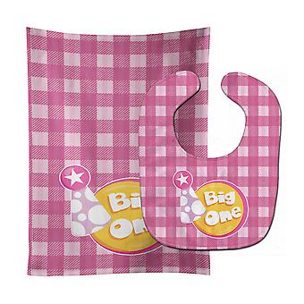 Carolines Treasures  BB6830STBU Girl Big One Baby Bib & Burp Cloth