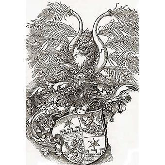 Герб Roggendorff плакат печать, Альбрехт Дюрер
