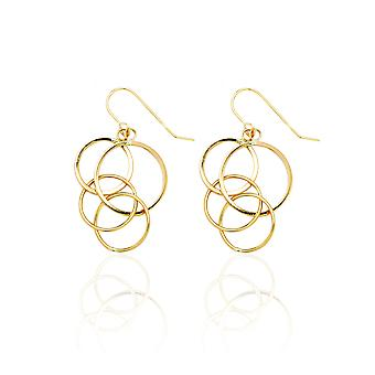 14k Yellow Gold Dangling Circles Drop Earring with Fish Hook in Gift Box