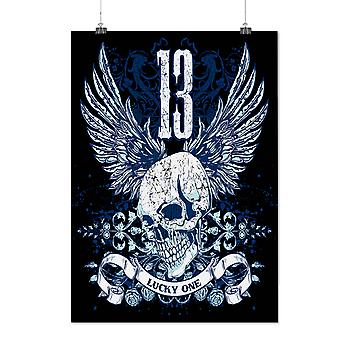Matte or Glossy Poster with Lucky Thirteen Skull | Wellcoda | *d203