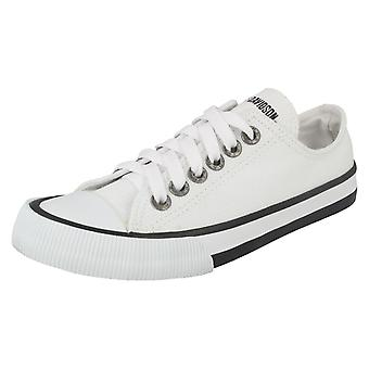 Ladies Harley Davidson Lace Up Pumps Zia D83819 - White Textile - UK Size 4 - EU Size 37 - US Size 6