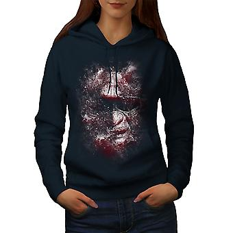 Katana Face Art Fantasy Women NavyHoodie | Wellcoda