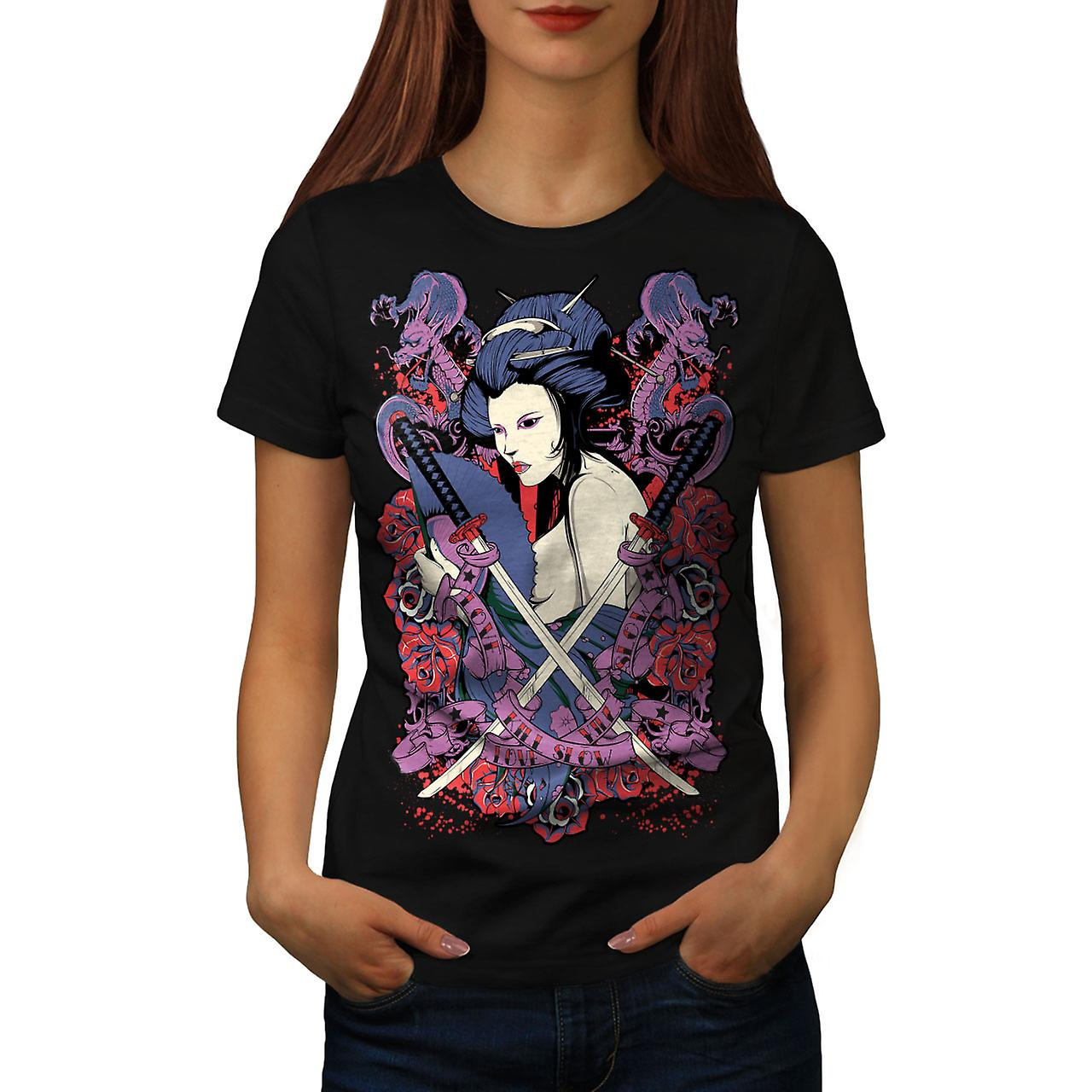 Geisha Rose Asia Fantasy Women Black T-shirt | Wellcoda