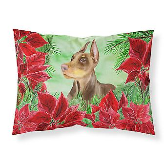 Doberman Pinscher Poinsettas Fabric Standard Pillowcase