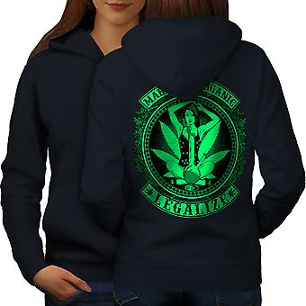 Organic Legalize Women NavyHoodie Back | Wellcoda