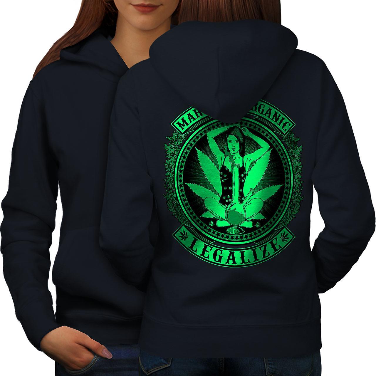 Organic Legalize Women NavyHoodie Back | Wellcoda