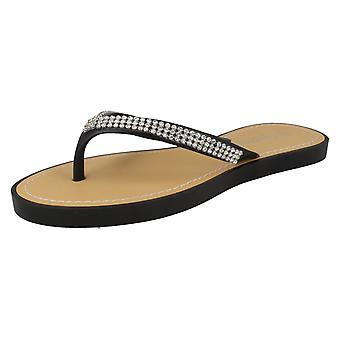 Ladies Savannah Flat Diamante Trim Toepost Sandal F0785