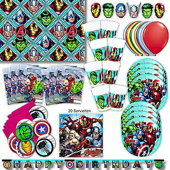 Avengers party set XL 72-teilig for 6 guests Marvel Avengersparty birthday decoration party package