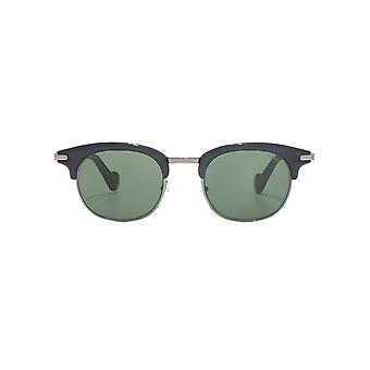 Moncler Geometric Brow Line Sunglasses In Shiny Black