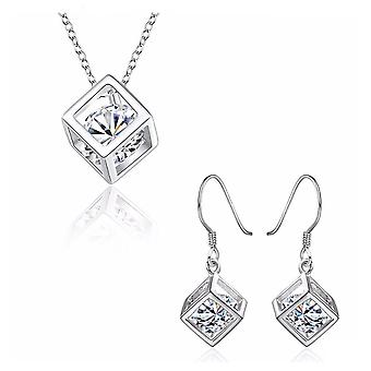 Womens Silver Cube Necklace & Earrings Set With Crystal Stone Unique Gift