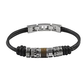Fossil mens black leather bracelet black JF84196040