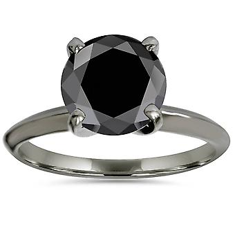 8MM Black Spinel Solitaire Round Engagement Ring 14k White Gold