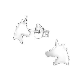 Unicorn - 925 Sterling Silver Plain Ear Studs