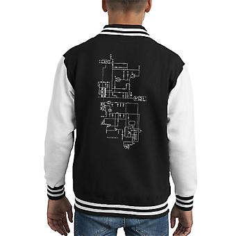 PlayStation 1 Computer Schematic Kid's Varsity Jacket