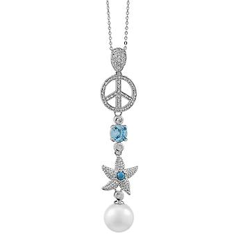 Burgmeister chain and pendant JBM1038-321, 925 sterling silver rhodanized, starfish