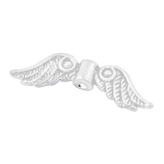 Packet 20 x Bright Silver Tibetan 7 x 23mm Angel Wings Charm/Pendant HA02062