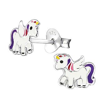 Unicorn - 925 Sterling Silver Colourful Ear Studs - W30574x
