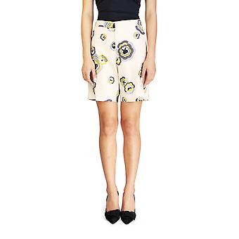 Miu Miu Women's Cotton Floral Print Shorts Tan