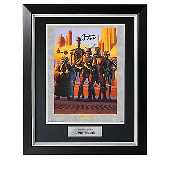 Boba Fett Signed Star Wars Bounty Hunters Poster In Deluxe Black Frame With Silver Inlay