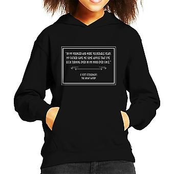 F Scott Fitzgerald The Great Gatsby Opening Lines Kid's Hooded Sweatshirt