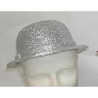 Glitter Bowler Hat Silver