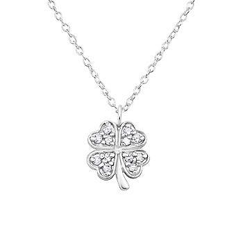 Clover - 925 Sterling Silver Jewelled Necklaces