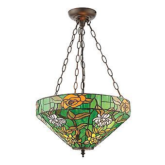 Interieurs 1900 Agapantha Green Tiffany glas omgekeerd hanglamp