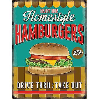 Homestyle Hamburgers grote metalen ondertekenen 400 X 300 Mm