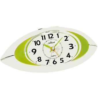 アトランタ 1939/6 目覚まし時計石英アナログ緑白色光スヌーズでカチカチ音をたてることがなく静かに