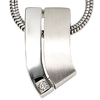Trailer 585 Gold White Gold 1 diamond 0, 01ct. White Gold Pendant