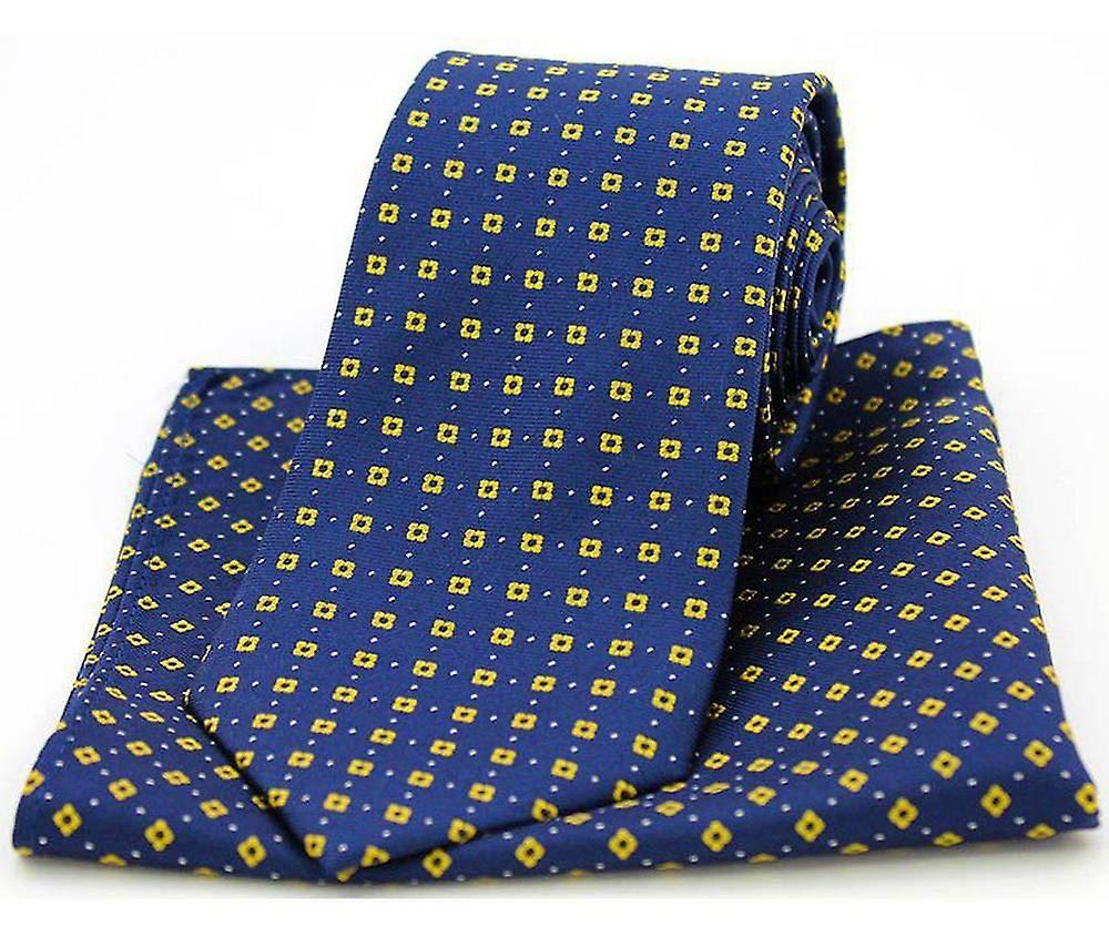 David Van Hagen Neat Box Pattern Tie and Pocket Square Set - Navy/Yellow