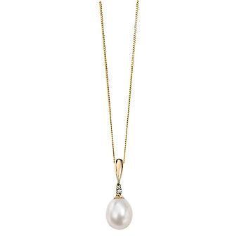 Elements Gold Diamond and Freshwater Pearl Drop Pendant - Gold/White
