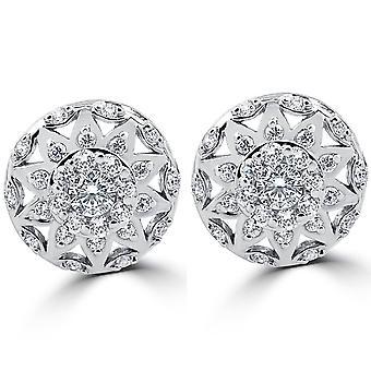 1/2ct Vintage Halo Diamond Studs 14K White Gold