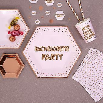 Large Pink and Rose Gold Party Plate 'Bachelorette Party' X 8