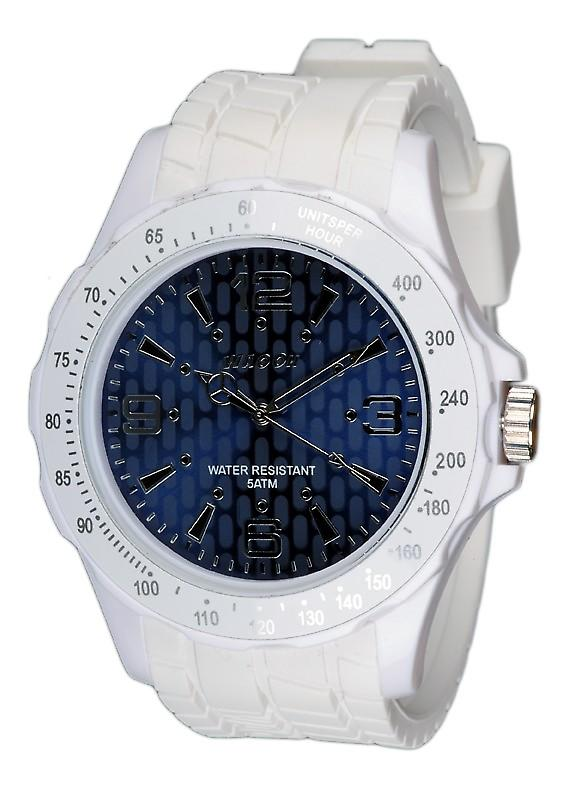 Waooh - White Silicone Watch with Blue Dial A Tabs Black Waooh Gpm48 Inspired From Monaco Grand Prix