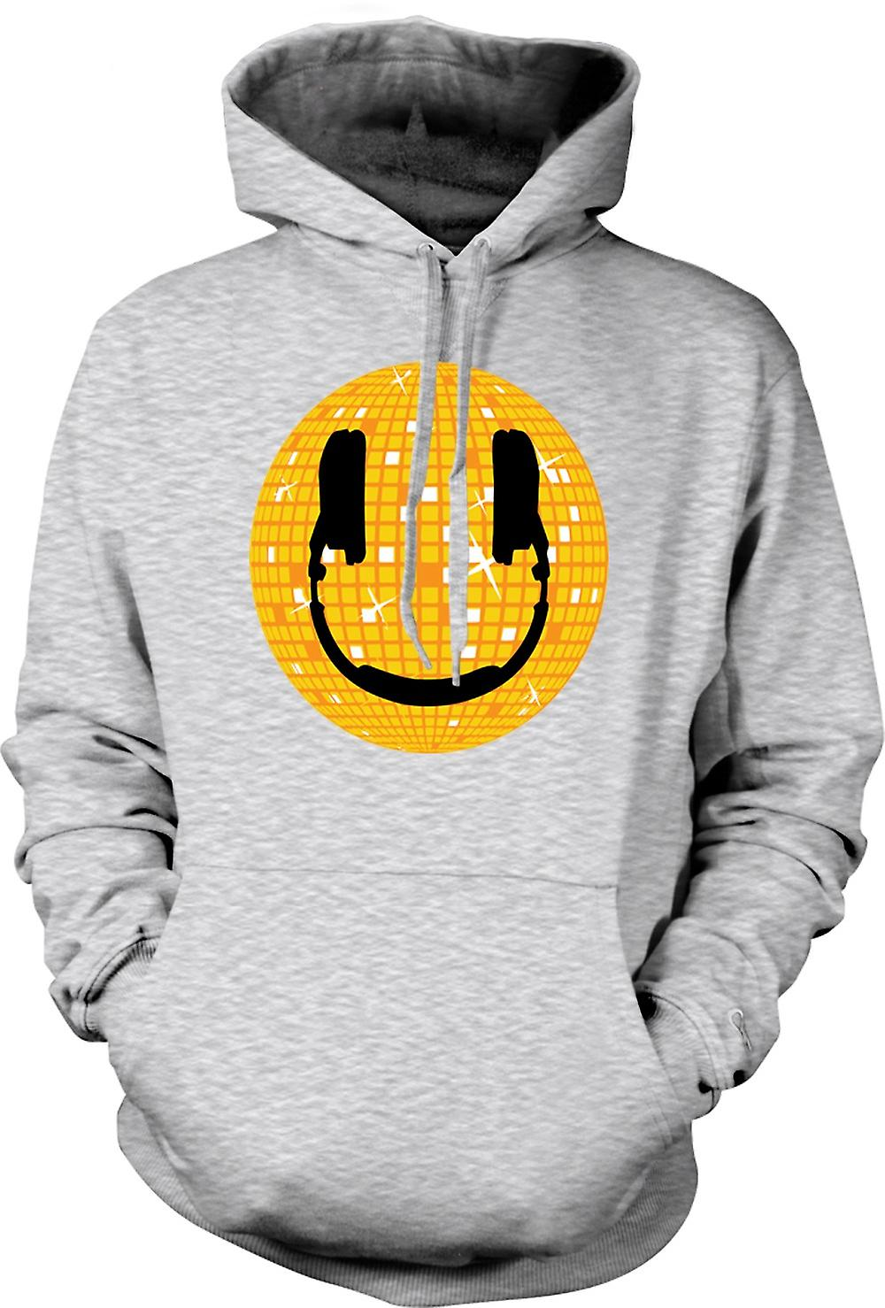 Mens-Hoodie - Smiley-Gesicht - Disco-Kugel