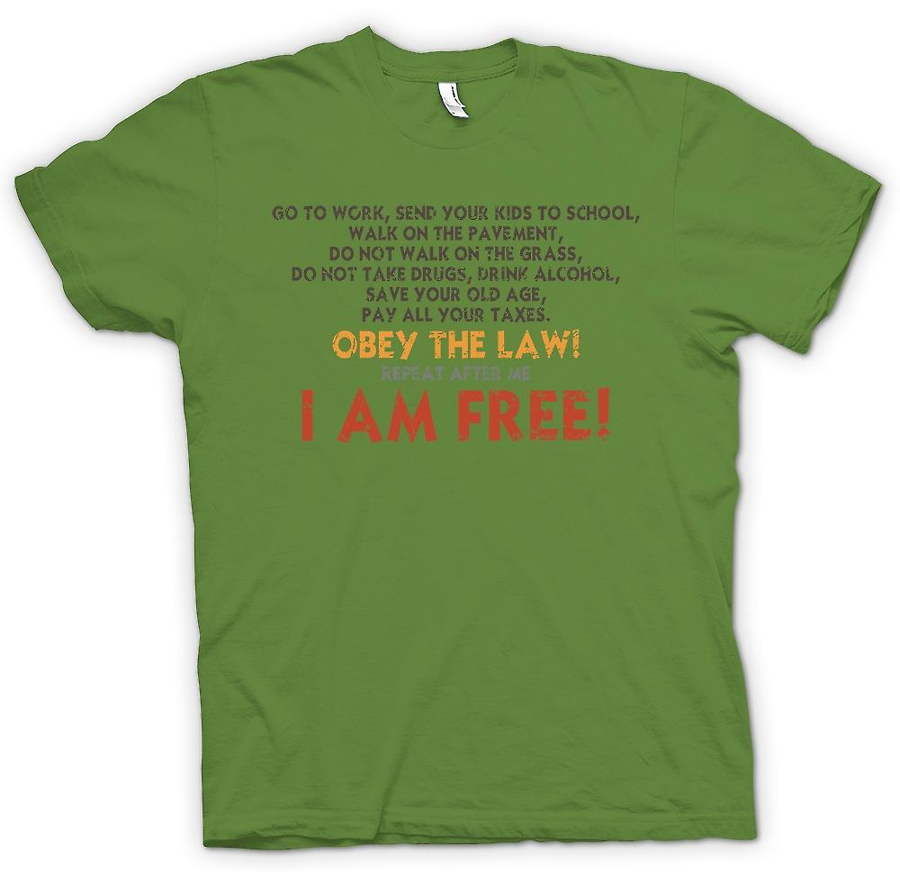 Mens T-shirt - Obey The Law - I Am Free - Joke Doctrine