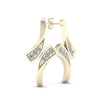 IGI Certified 10k Yellow Gold 0.04ct TDW Diamond Bypass Style Earrings