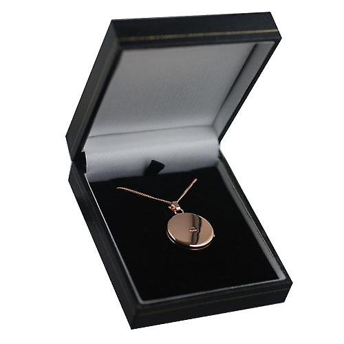 9ct Rose Gold 20mm plain flat round Locket with a curb chain