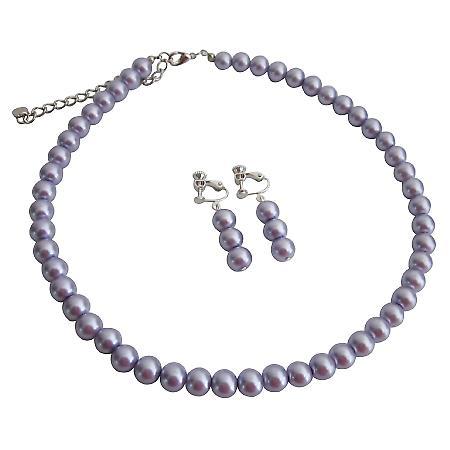 Custom Made Earrings For Your Flower Girl Purple Pearls