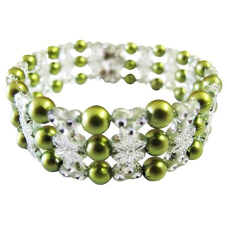 Beautiful Olive Pearls Stretchable Bracelet Designed Bangle Bracelet