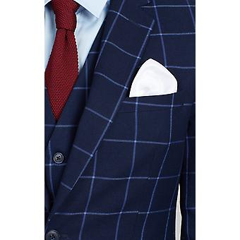 Dobell Mens Navy Suit Jacket Regular Fit Notch Lapel Blue Windowpane Check