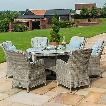 Maze Rattan Oxford Venice 6 Seater Round Dining Set with Ice Bucket