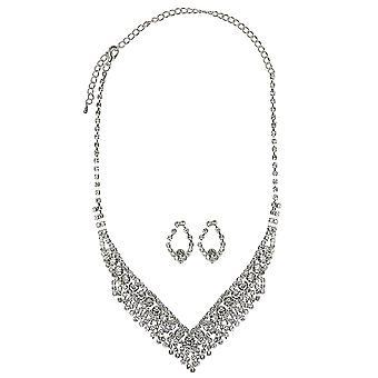 Wedding Sparkling Rhinestone Crystal Earrings & Necklace Jewelry Set