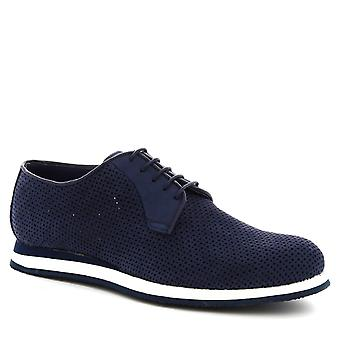 Leonardo Shoes Men's handmade casual shoes in blue openwork suede leather