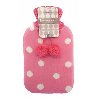 Jacquard Knit Pom Pom 2L Hot Water Bottle: Dotty Pink