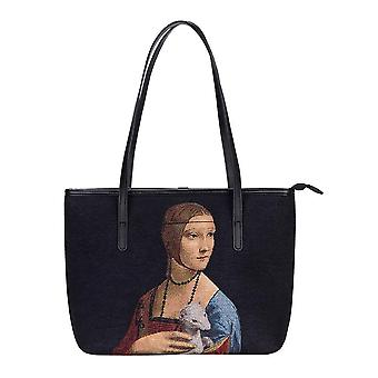 Da vinci - lady with an ermine shoulder tote bag by signare tapestry / coll-art-ldv-ermine