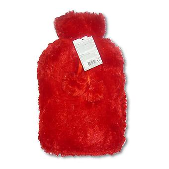 Silky Faux Fur Pom Pom Trim 2L Hot Water Bottle