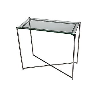 Gillmore Space Clear Glass Small Console Table With Gun Metal Cross Base