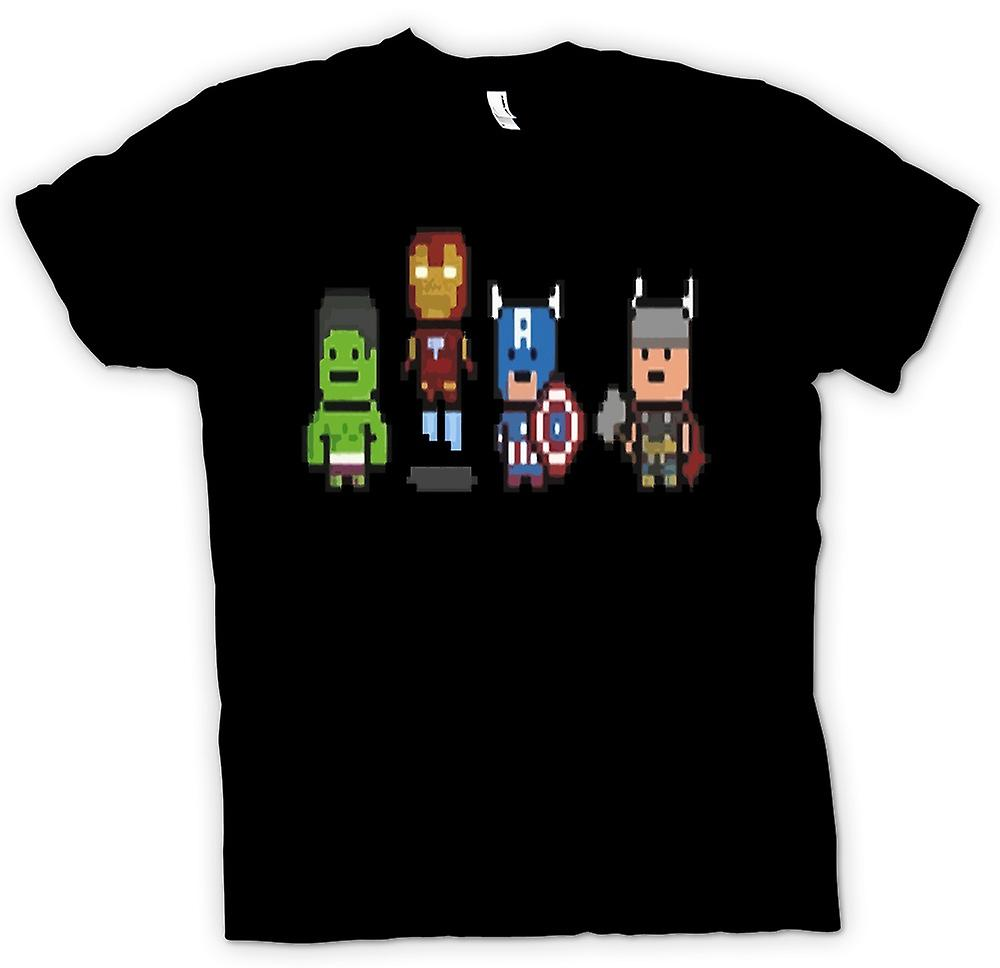 Mens T-shirt - Pixel Avengers - Cool Superheroes - Hulk - Iron Man - Captain - Thor